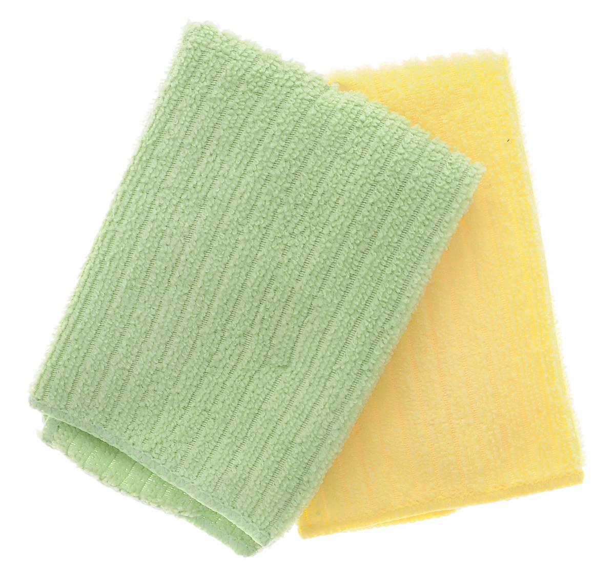 Салфетка из микрофибры Home Queen, цвет: желтый, зеленый, 30 х 30 см, 2 шт531-105Салфетка Home Queen изготовлена из микрофибры. Это великолепная гипоаллергенная ткань, изготовленная из тончайших полимерных микроволокон. Салфетка из микрофибры может поглощать количество пыли и влаги, в 7 раз превышающее ее собственный вес. Многочисленные поры между микроволокнами, благодаря капиллярному эффекту, мгновенно впитывают воду, подобно губке. Благодаря мелким порам микроволокна, любые капельки, остающиеся на чистящей поверхности очень быстро испаряются и остается чистая дорожка без полос и разводов. В сухом виде при вытирании поверхности волокна микрофибры электризуются и притягивают к себе микробов, мельчайшие частицы пыли и грязи, удерживая их в своих микропорах.Размер салфетки: 30 см х 30 см.