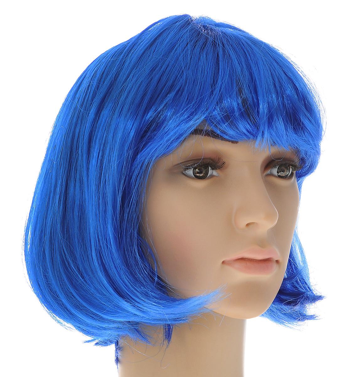 Парик маскарадный Феникс-презент Каре, цвет: синий маскарадный парик женский взрослый