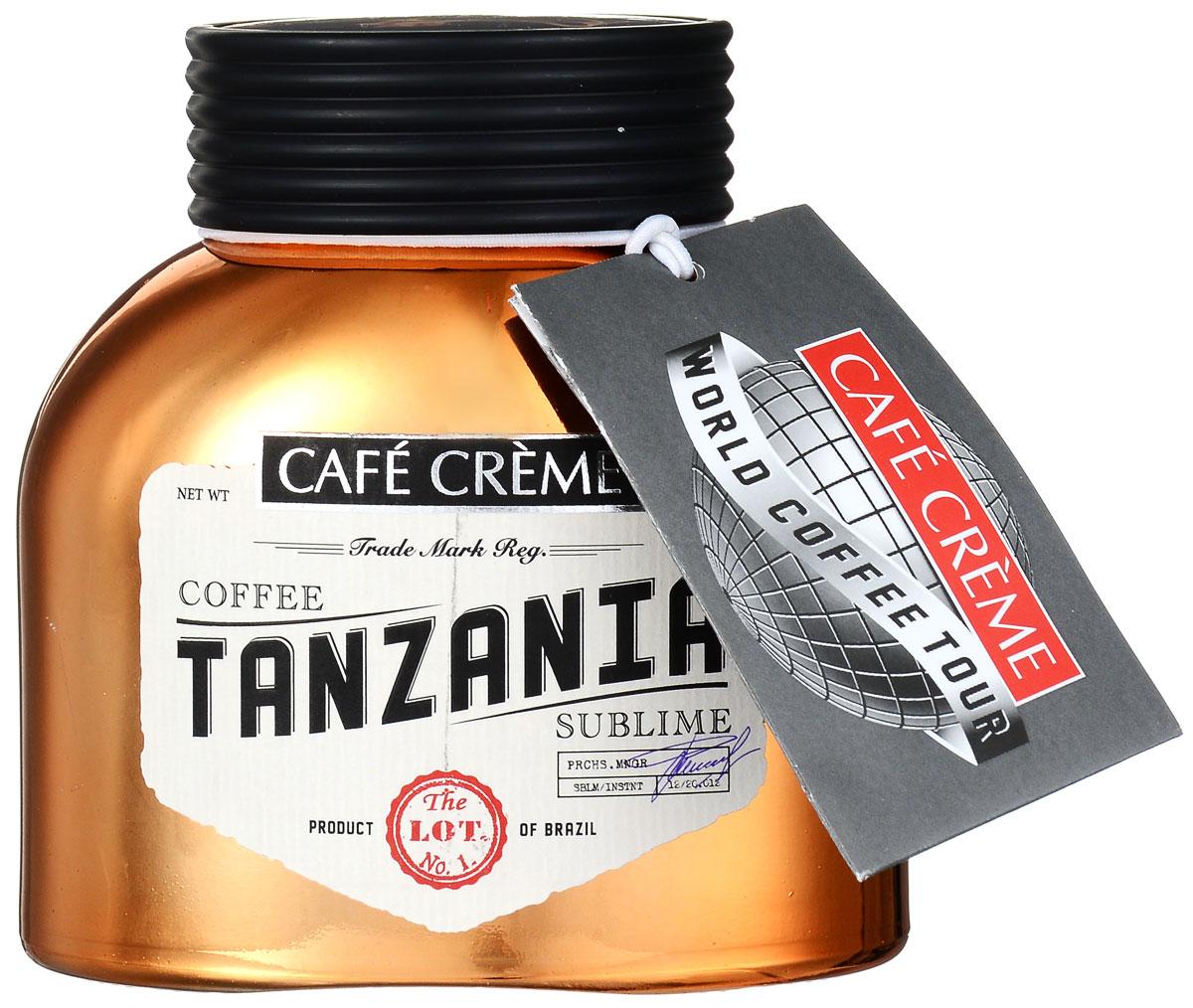 Cafe Creme Tanzania кофе растворимый, 100 г0120710Cafe Creme Tanzania – изысканный напиток, созданный из ценнейших сортов бразильской арабики. Этот натуральный растворимый сублимированный кофе из элитных сортов танзанийской арабики, которые выращиваются и собираются на склонах вулкана Килиманджаро. Напиток обладает полным, глубоким вкусом с пикантной кислинкой и легкой фруктовой нотой и крепким ароматом.