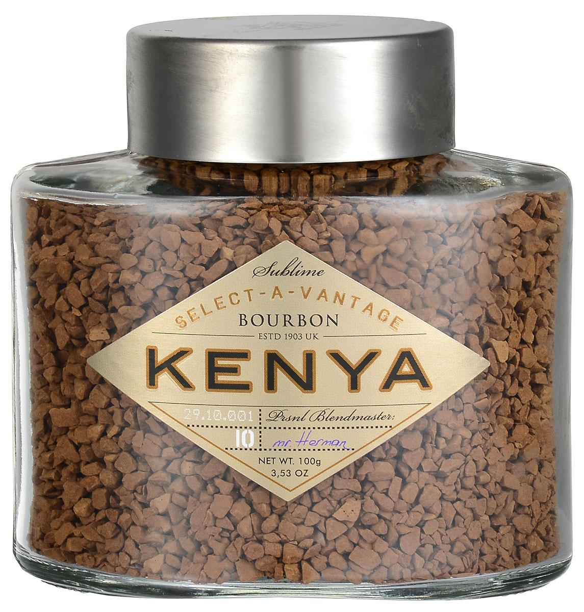 Bourbon Select-a-Vantage Kenya кофе растворимый, 100 г0120710На аукционе в Найроби отобрали редкие крупные зерна арабики, выросшей на восточном склоне горы Элго. Вот почему кофе Bourbon Select-a-Vantage Kenya имеет такой,особенный, умеренно винный привкус, с легкой пряностью и апельсиновым оттенком.