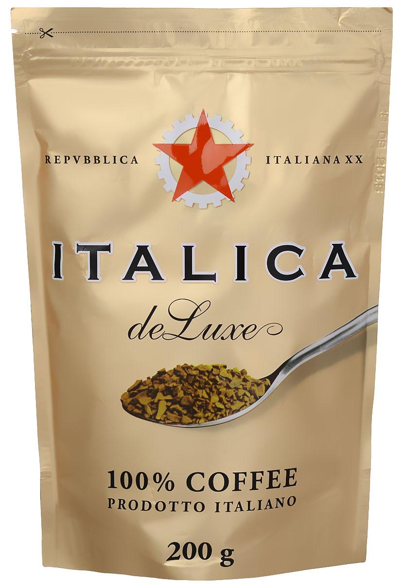 Italica de Luxe кофе растворимый, 200 г7610121710387Italica de Luxe создан мастерами старой школы с уважением к итальянским кофейным традициям. Богатую палитру вкуса этого кофе составляют лучшие кофейные зерна Бразилии, Кении, Центральной Америки, Мексики и Ямайки. Попробуйте традиционный кофе - шедевр итальянского кофейного искусства!