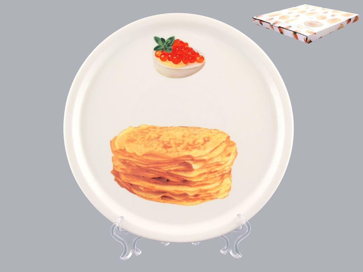Тарелка для блинов Elan Gallery Блины, диаметр 25 см115610Круглая тарелка Elan Gallery Блины, изготовленная из фарфора и декорированная ярким и аппетитным изображением, позволит красиво подать блины. Такая тарелка украсит сервировку вашего стола и подчеркнет прекрасный вкус хозяина, а также станет отличным подарком. Диаметр: 25 см. Высота: 2 см.