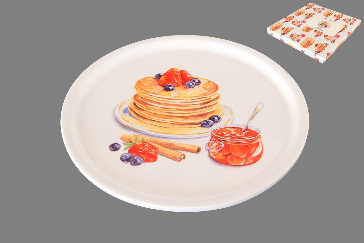 Тарелка для блинов Elan Gallery Блины с банкой варенья, диаметр 25 см115510Круглая тарелка Elan Gallery Блины с банкой варенья, изготовленная из керамики и декорированная ярким и аппетитным изображением, позволит красиво подать блины. Такая тарелка украсит сервировку вашего стола и подчеркнет прекрасный вкус хозяина, а также станет отличным подарком. Диаметр: 25 см. Высота: 2 см.