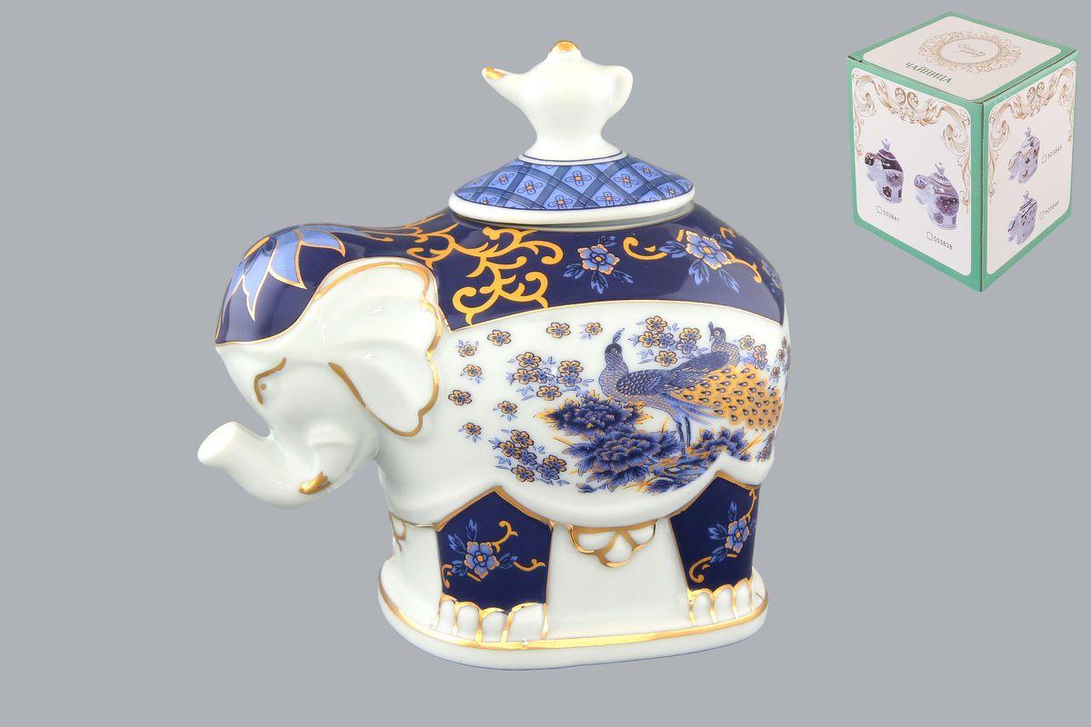 Чайница Elan Gallery Слон. Синий павлин, 350 млVT-1520(SR)Чайница Elan Gallery Слон. Синий павлин, изготовленная из высококачественной керамики, идеально подойдет для хранения вашего любимого сорта чая. Изделие выполненное в виде слона, оформлено оригинальным цветочным узорам и изображениям бабочек. Крышка декорирована оригинальной ручкой в виде чайника. Специальная силиконовая вставка на крышке не даст потерять чаю свой аромат. Такая чайница украсит интерьер вашей кухни и подчеркнет прекрасный вкус хозяина, а также станет отличным подарком к любому празднику. Размер чайницы (с учетом крышки): 12 см х 8 см х 11 см.Диаметр горлышка: 4 см.