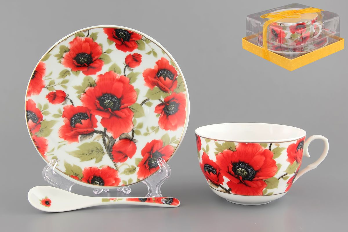 Чайная пара Elan Gallery Маки, 250 мл, 3 предметаVT-1520(SR)Чайная пара Elan Gallery Маки состоит из чашки, блюдца и ложечки,изготовленных из высококачественной керамики. Предметы набора оформлены изящным цветочным рисунком. Чайная пара Elan Gallery Маки украсит ваш кухонный стол, а такжестанет замечательным подарком друзьям и близким.Изделие упаковано в подарочную коробку с атласной лентой. Объем чашки: 250 мл.Диаметр чашки по верхнему краю: 9,5 см.Высота чашки: 6 см.Диаметр блюдца: 14 см.Длина ложки: 13 см.
