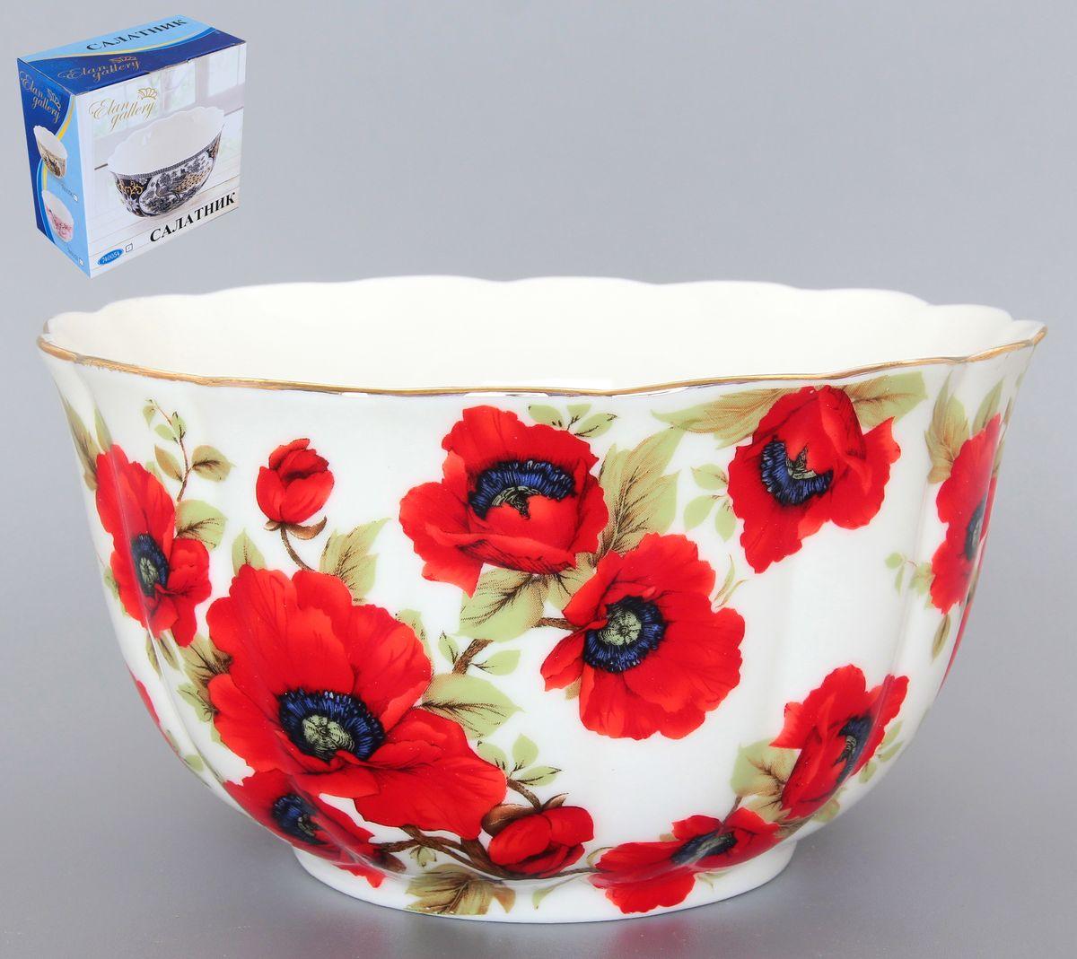 Салатник Elan Gallery Маки, 850 мл54 009303Великолепный салатник с волнистым краем Elan Gallery Маки, изготовленный из высококачественной керамики, прекрасно подойдет для подачи различных блюд: закусок, салатов или фруктов.Такой салатник украсит ваш праздничный или обеденный стол, а оригинальное исполнение понравится любой хозяйке.Диаметр салатника (по верхнему краю): 16 см. Высота салатника: 10 см. Объем салатника: 850 мл.