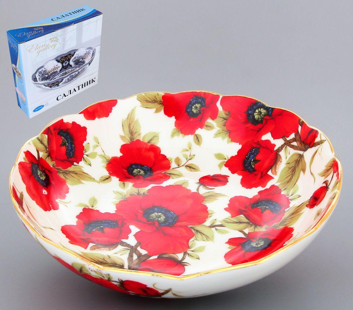 Салатник Elan Gallery Маки, 750 мл54 009312Великолепный салатник с волнистым краем Elan Gallery Маки, изготовленный из высококачественной керамики, прекрасно подойдет для подачи различных блюд: закусок, салатов или фруктов. Такой салатник украсит ваш праздничный или обеденный стол, а оригинальное исполнение понравится любой хозяйке. Диаметр салатника (по верхнему краю): 20 см. Высота салатника: 5,5 см. Объём салатника: 750 мл.