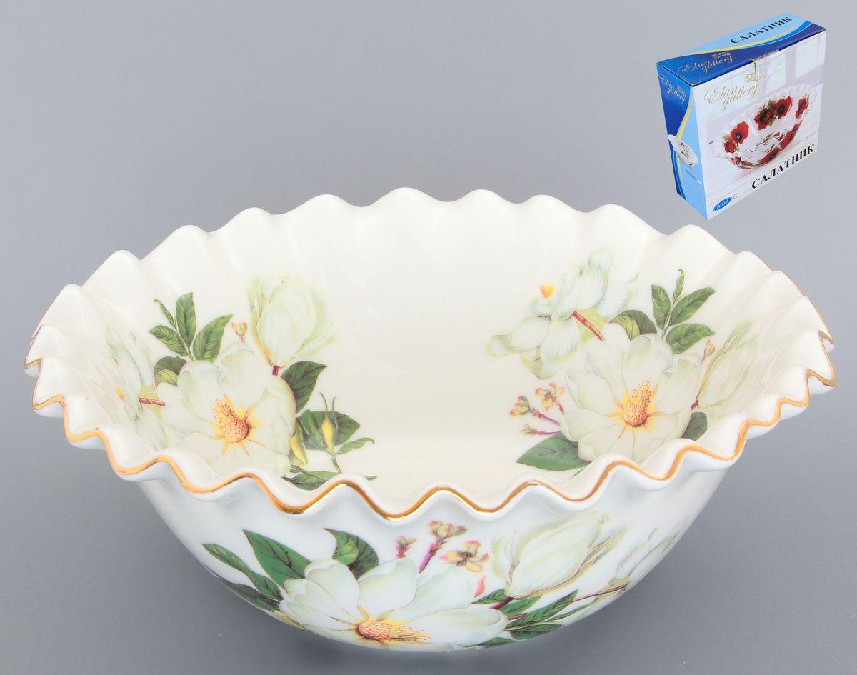 Салатник Elan Gallery Белый шиповник, 800 мл54 009312Великолепный салатник с волнистым краем Elan Gallery Белый шиповник, изготовленный из высококачественной керамики, прекрасно подойдет для подачи различных блюд: закусок, салатов или фруктов.Такой салатник украсит ваш праздничный или обеденный стол, а оригинальное исполнение понравится любой хозяйке.Диаметр салатника (по верхнему краю): 20 см. Высота салатника: 9 см. Объем салатника: 800 мл.