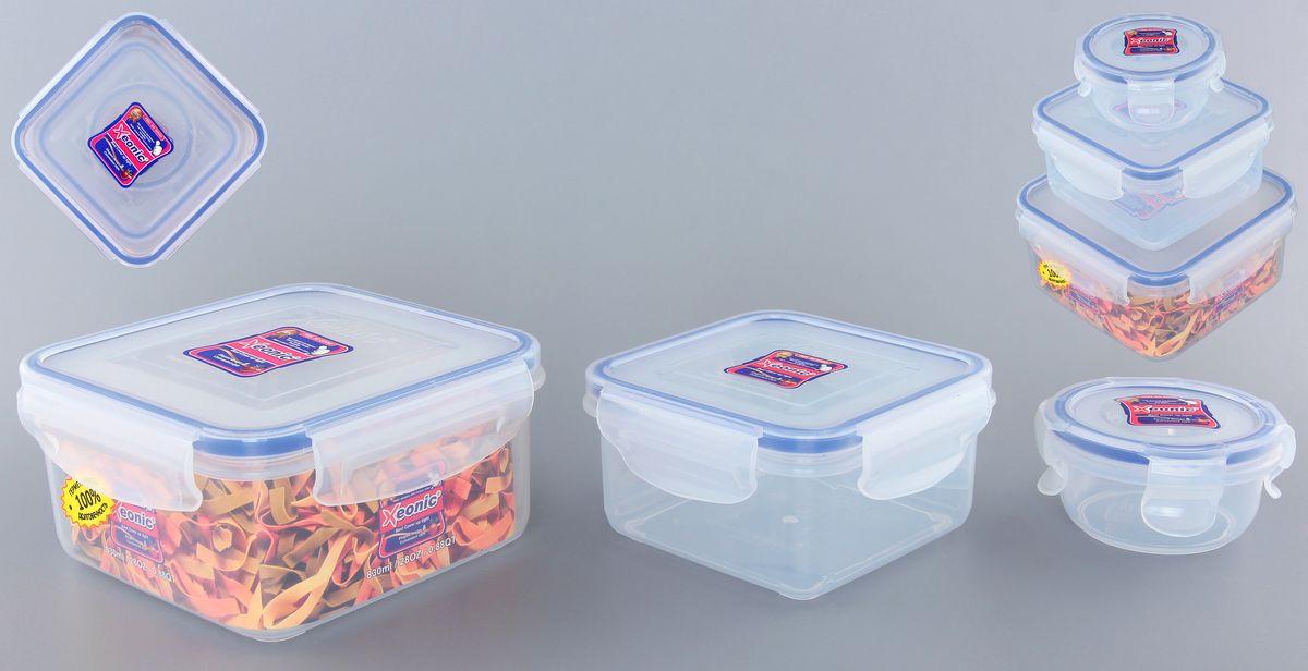 Набор контейнеров Xeonic, цвет: прозрачный, синий, 3 штVT-1520(SR)Набор контейнеров Xeonic состоит из трех контейнеров, предназначенных для хранения и транспортировки пищи. Изделия выполнены из высококачественного пищевого полипропилена. Крышки с силиконовой вставкой герметично защелкиваются специальным механизмом. Контейнеры удобно складываются друг в друга, что экономит пространство при хранении в шкафу. Можно мыть в посудомоечной машине и использовать в СВЧ.Объем контейнеров: 90 мл, 450 мл, 830 мл. Размер контейнеров (по верхнему краю): 8 см х 8 см; 11,5 см х 11,5 см; 14 см х 14 см.Высота контейнеров: 5,5 см; 6 см; 7,5 см.