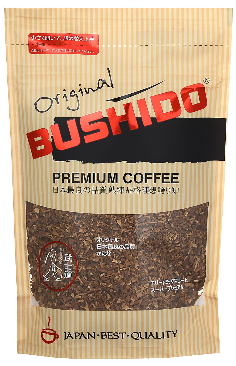 Bushido Original кофе растворимый, 85 г8001684025626Bushido Original изготовлен из собранной вручную южноамериканской арабики, обладает оригинальным вкусом, тонким ароматом и долгим послевкусием.