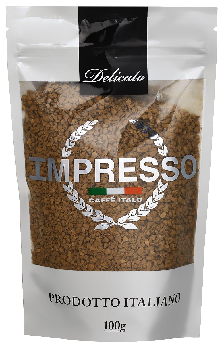 Impresso Delicato кофе растворимый, 100 г0120710Impresso Delicato - настоящий итальянский кофе, который восхищает полнотой вкуса и быстротой приготовления.В купаж кофе вошли сорта арабики из Бразилии и Ямайки с деликатным насыщенным вкусом.