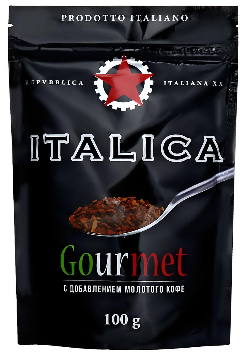 Italica Gourmet кофе растворимый, 100 г7610121710318Italica Gourmet - натуральный растворимый кофе с добавлением жареного молотого кофе. Напиток создан по технологии Hi-Lite Antioxidant Advantage, позволяющей сохранить все полезные свойства зелёного кофе. В его состав входит натуральный растворимый кофе и 20% жареного молотого кофе. Italica Gourmet - это исключительный вкус, восхитительный аромат и высокое содержание натуральных антиоксидантов.