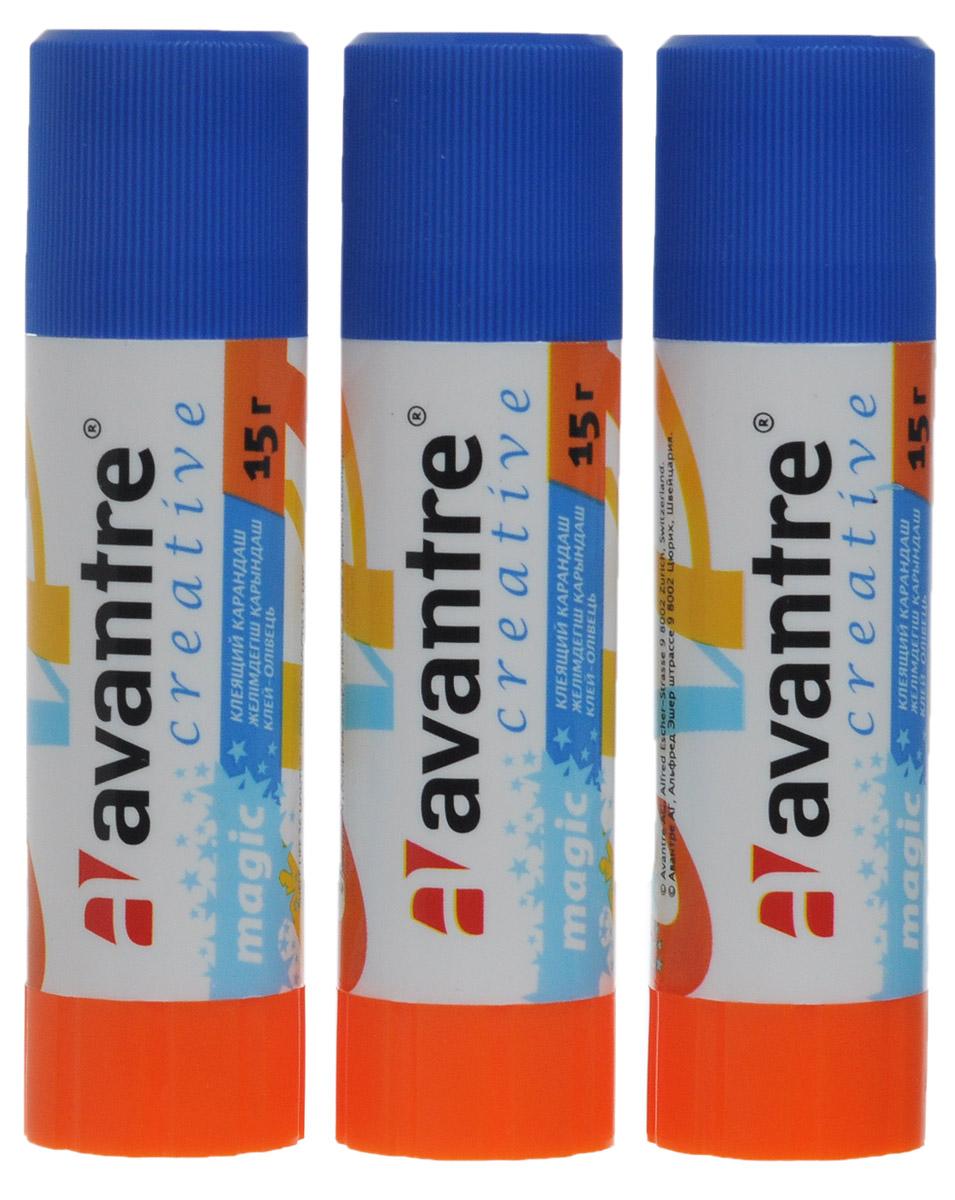 Avantre Клей-карандаш Creative 3 штFS-00101Клей-карандаш Avantre Creative незаменим в доме, школе и офисе. Он легко наносится, надежно склеивает бумагу и фотографии, не деформируя поверхность. Клей долго хранится, не имеет запаха и отстирывается с большинства тканей. Выкручивающийся механизм обеспечивает постепенное выдвижение клеящего стержня из пластикового корпуса. В комплект входят 3 клея. Характеристики:Масса клея: 15 г. Размер: 9 см x 2 см x 2 см.