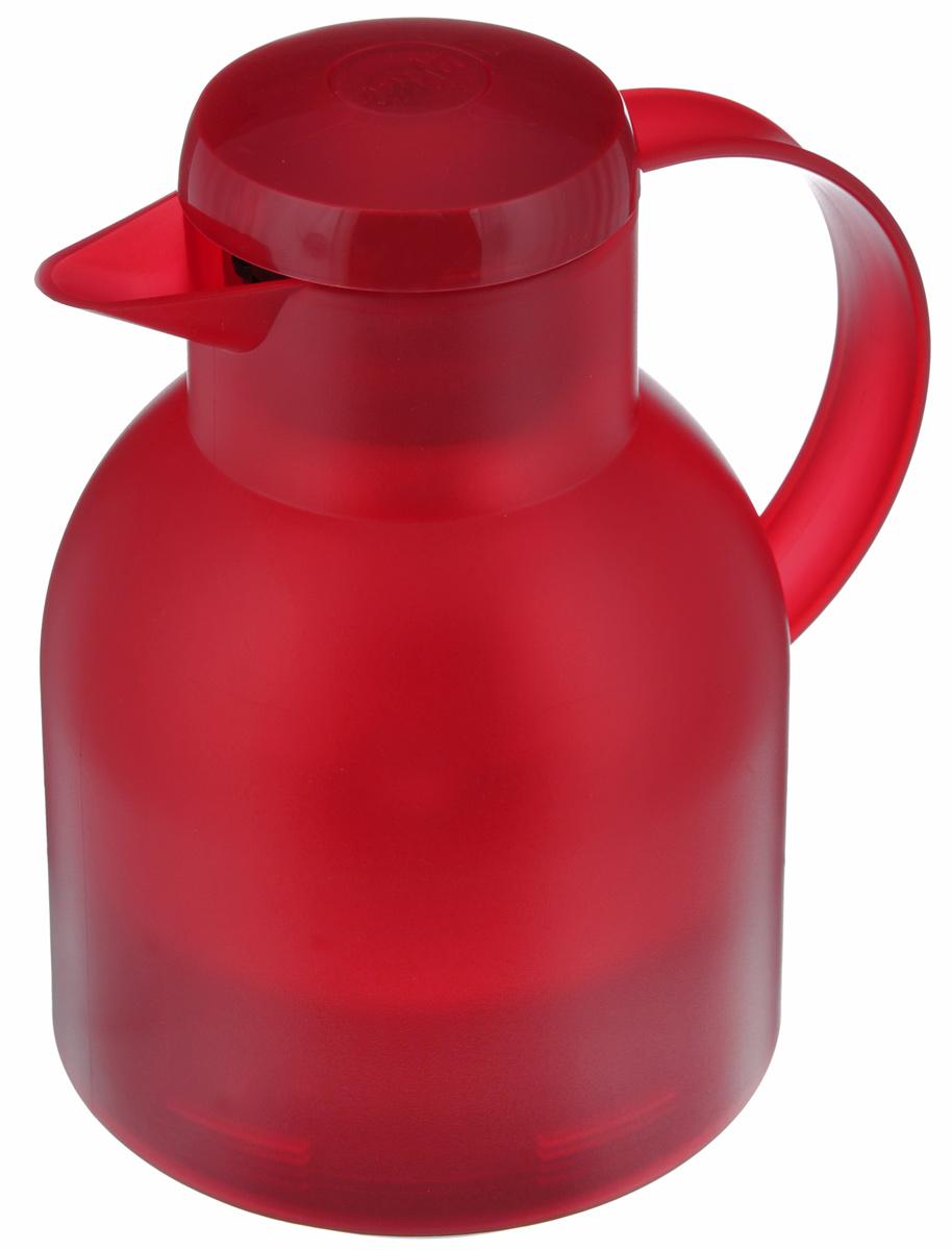 Термос-кофейник Emsa Samba, цвет: красный, 1 л68/5/4Удобный термос-кофейник Emsa Samba станет незаменимым аксессуаром в поездках, выездах на природу, дачу, рыбалку или пикник. Корпус кувшина выполнен из высококачественного пластика, а колба - из стекла. На крышке изделия имеется кнопка, с помощью которой вы сможете легко открыть герметичный клапан, а удобные носик и ручка позволят аккуратно разлить содержимое по стаканам. Пробка разбирается и превосходно моется.Диаметр горлышка: 7 см.Диаметр дна: 14 см.Высота термоса: 21 см.