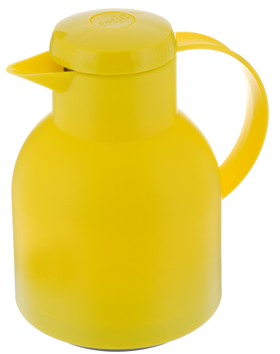 Термос-кофейник Emsa Samba, цвет: желтый, 1 л54 009312Удобный термос-кофейник Emsa Samba станет незаменимым аксессуаром в поездках, выездах на природу, дачу, рыбалку или пикник. Корпус кувшина выполнен из высококачественного пластика, а колба - из стекла. На крышке изделия имеется кнопка, с помощью которой вы сможете легко открыть герметичный клапан, а удобные носик и ручка позволят аккуратно разлить содержимое по стаканам. Пробка разбирается и превосходно моется.Диаметр горлышка: 7 см.Диаметр дна: 14 см.Высота термоса: 21 см.