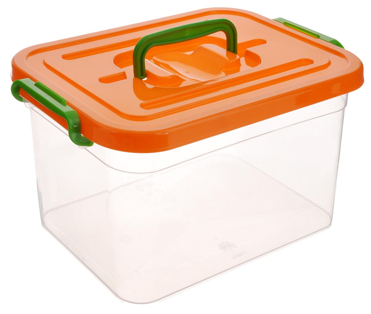 Контейнер для хранения Полимербыт, цвет: оранжевый, прозрачный, 6,5 л74-0060Контейнер для хранения Полимербыт, выполненный из высококачественного пищевого пластика, снабжен удобной ручкой и двумя пластиковыми фиксаторами по бокам, придающими дополнительную надежность закрывания крышки. Вместительный контейнер позволит сохранить вещи в порядке, а герметичная крышка предотвратит случайное открывание, а также защитит содержимое от пыли и грязи.
