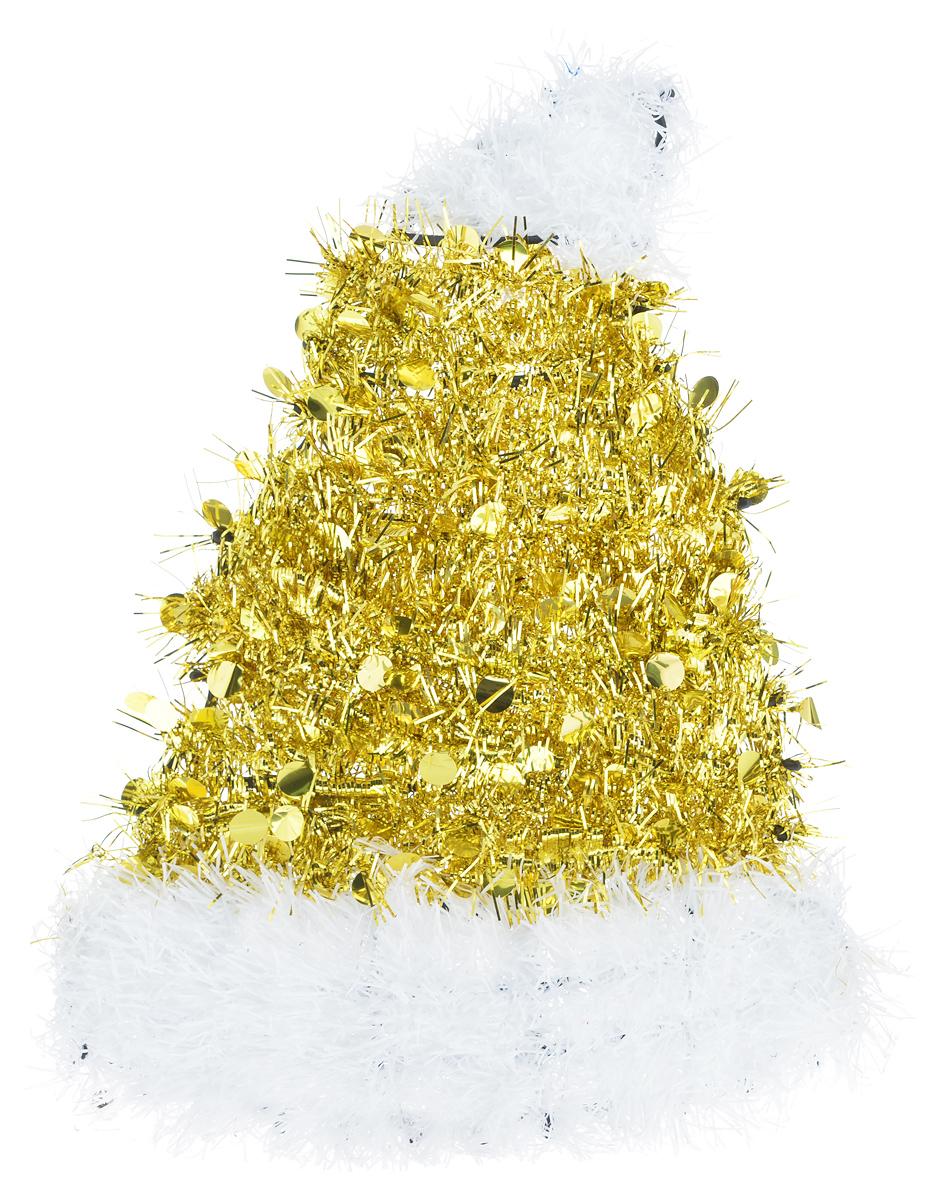 Новогоднее декоративное украшение EuroHouse Колпак, цвет: золотой, белый, 26 см х 34 см19201Украшение EuroHouse Колпак имеет прочный пластиковый каркас, декорированный мишурой. Декоративный колпак дополнит интерьер любого помещения, а также может стать оригинальным подарком для ваших друзей и близких. Оформление помещения декоративным украшением создаст праздничную, по-настоящему радостную и теплую атмосферу.Новогодние украшения всегда несут в себе волшебство и красоту праздника. Создайте в своем доме атмосферу тепла, веселья и радости, украшая его всей семьей.