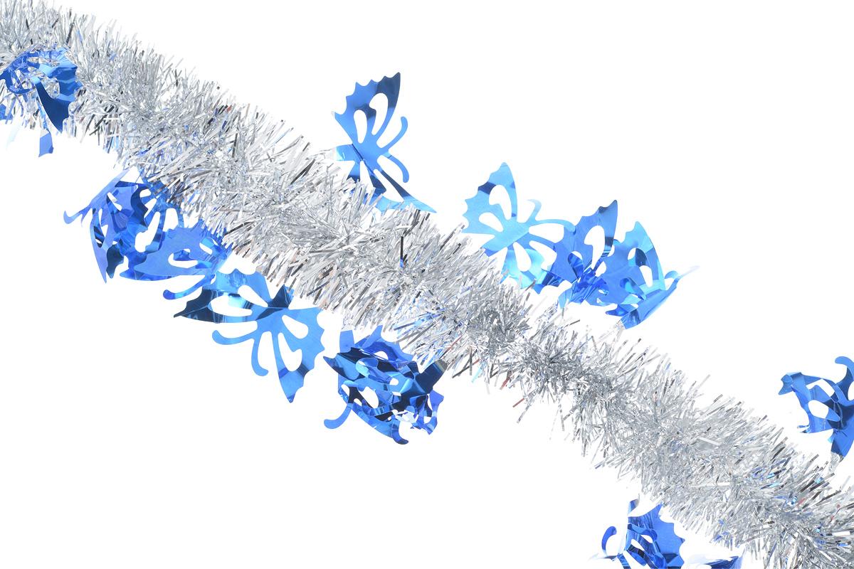 Мишура новогодняя Sima-land, цвет: серебристый, синий, диаметр 5 см, длина 200 см. 825981IRK-503Мишура новогодняя Sima-land, выполненная из двухцветной фольги, поможет вам украсить свой дом к предстоящим праздникам. Мишура армирована, то есть имеет проволоку внутри и способна сохранять приданную ей форму.Новогодняя елка с таким украшением станет еще наряднее. Новогодней мишурой можно украсить все, что угодно - елку, квартиру, дачу, офис - как внутри, так и снаружи. Можно сложить новогодние поздравления, буквы и цифры, мишурой можно украсить и дополнить гирлянды, можно выделить дверные колонны, оплести дверные проемы. Мишура принесет в ваш дом ни с чем несравнимое ощущение праздника! Создайте в своем доме атмосферу тепла, веселья и радости, украшая его всей семьей.