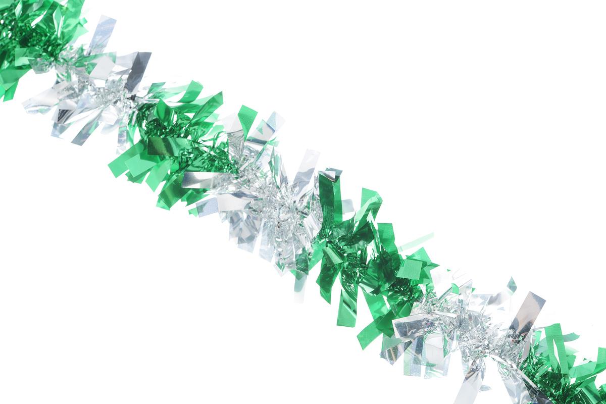 Мишура новогодняя EuroHouse Чудесница, цвет: зеленый, серебристый, диаметр 6 см, длина 200 смNLED-454-9W-BKНовогодняя мишура EuroHouse Чудесница, выполненная из ПЭТ (полиэтилентерефталата), поможет вам украсить свой дом к предстоящим праздникам. А новогодняя елка с таким украшением станет еще наряднее. Мишура армирована, то есть имеет проволоку внутри и способна сохранять придаваемую ей форму. Новогодней мишурой можно украсить все, что угодно - елку, квартиру, дачу, офис - как внутри, так и снаружи. Можно сложить новогодние поздравления, буквы и цифры, мишурой можно украсить и дополнить гирлянды, можно выделить дверные колонны, оплести дверные проемы.