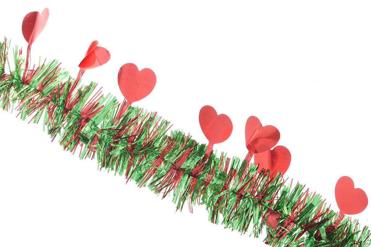 Мишура новогодняя Euro House Сердечки, цвет: красный, зеленый, диаметр 6 см, длина 200 смA1484FN-1BNНовогодняя мишура EuroHouse Сердечки, выполненная из ПЭТ (полиэтилентерефталата), поможет вамукрасить свой дом к предстоящим праздникам. А новогодняя елка с таким украшением станетеще наряднее. Мишура армирована, то есть имеет проволоку внутри и способна сохранятьпридаваемую ей форму. Новогодней мишурой можно украсить все, что угодно - елку, квартиру, дачу, офис - как внутри, так и снаружи. Можно сложить новогодние поздравления, буквы и цифры, мишурой можно украсить идополнить гирлянды, выделить дверные колонны, оплести дверные проемы. Новогодняя мишура принесет в ваш дом ни с чем не сравнимое ощущение праздника! Создайте в своем доме атмосферу тепла, веселья и радости, украшая его всей семьей.