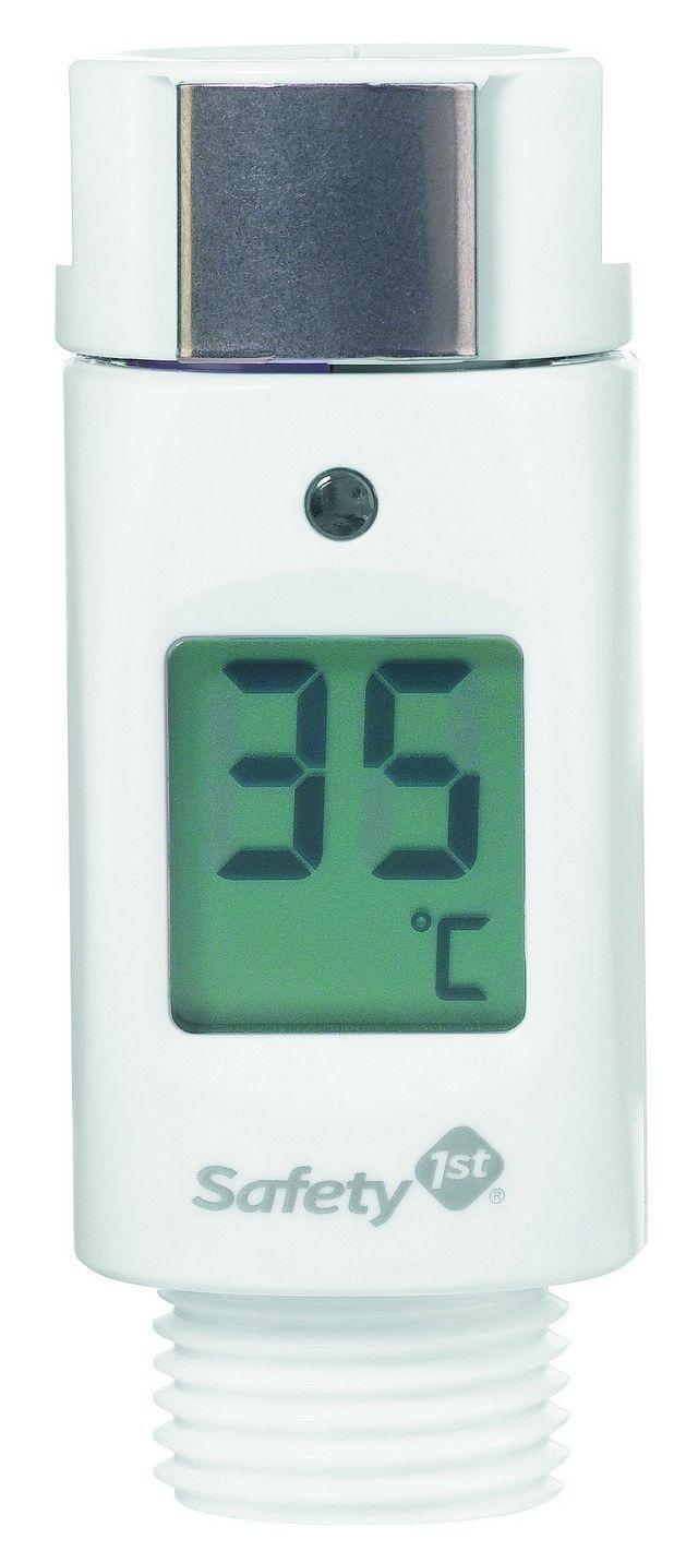 """Электронный проточный термометр на душевую лейку """"Safety 1st"""" позволяет определить температуру воды, обеспечивающую комфортное купание ребенка. Устройство подключается между шлангом и трубкой душа и измеряет температуру проточной воды, показывая показания на дисплее. Когда температура воды станет превысит или равной 39 градусов, раздается тревожный сигнал. Время отклика системы - 2 секунды."""