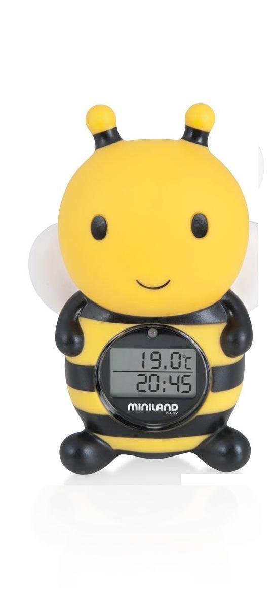 Miniland Thermo Bath 89061-это термометр для измерения температуры воздуха и воды в помещении. Он достаточно быстро определяет температуру, имеет сигнал, предупреждающий о чрезмерном повышении и понижении температуры воды.Miniland Thermo Bath 89061 водопроницаем и не тонет в воде.Термометр выполнен из безопасного материала, в виде забавной игрушки, что непременно привлечет внимание ребенка.