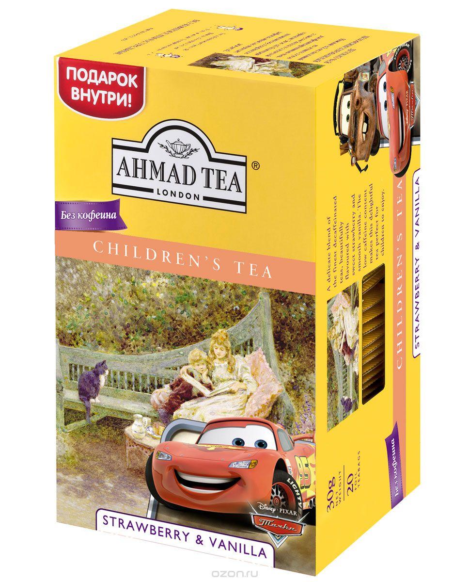 Ahmad Tea Strawberry&Vanilla черный декофеинизированный детский чай в пакетиках, 20 шт70238-00Ahmad Strawberry&Vanilla - нежный чай, составленный из лучших декофеинизированных чаев со вкусом летней клубники и ванили. Этот напиток идеально подходит для детей благодаря пониженному содержанию кофеина.Заваривать 3-5 минут, температура воды 100°C.
