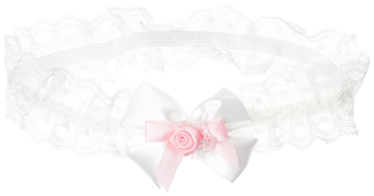 Babys Joy Повязка для волос цвет белый розовый MN 775Серьги с подвескамиПовязка для волос Babys Joy выполнена из текстиля, имеет сетчатую структуру и дополнена бантом белого цвета, украшенного розочкой. Повязка позволит не только убрать непослушные волосы с лица, но и придать образу немного романтичности и очарования. Повязка для волос Babys Joy подчеркнет уникальность вашей маленькой модницы и станет прекрасным дополнением к ее неповторимому стилю.