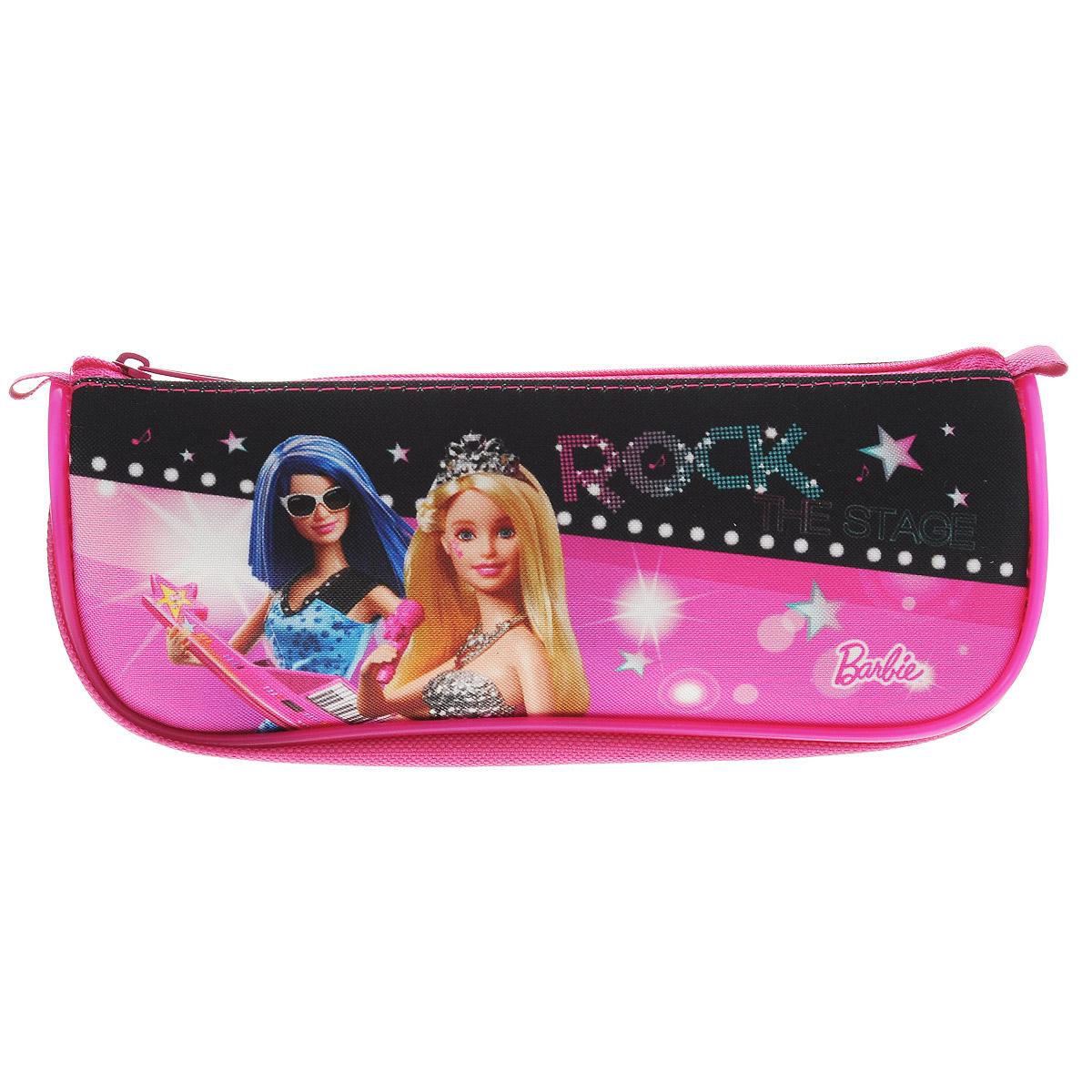 Пенал Hatber мягкий на молнии-БАРБИ- (Barbie), розовый