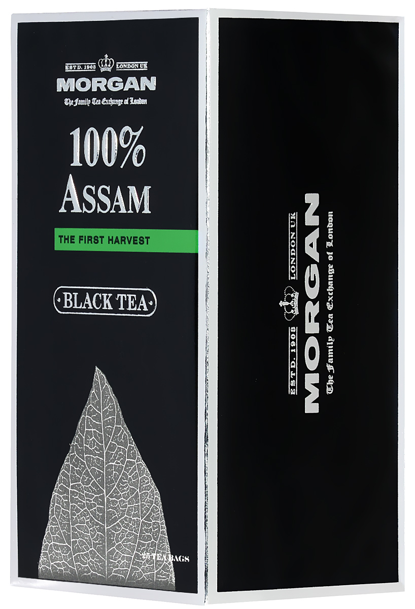 Morgan 100% Assam чай черный в пакетиках, 25 шт0120710Крепкий и ароматный чай Morgan 100% Assam обладает настоем насыщенного красного цвета. Этот сорт выращен в долине реки Брахмапутра и отличается крепостью и бодрящими свойствами.