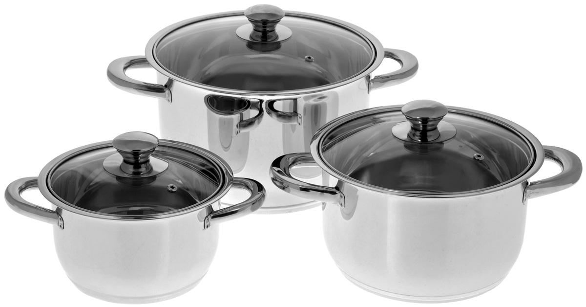 Набор посуды BergHOFF Studio, 6 предметов68/5/4Набор посуды BergHOFF Studio выполнен из высококачественной нержавеющей стали. В набор входят кастрюли различных размеров с крышками. Крепкие ручки обеспечивают безопасный и удобный хват. Четырехслойное дно делает возможным эффективное приготовление пищи и равномерное распределение тепла по всей поверхности. Крышка обеспечивает эффективное закрытие: тепло сохраняется внутри изделия, что приводит к более быстрому разогреву, три вентиляционных отверстия предотвращают выплескивание. Благодаря стеклянной крышке можно наблюдать за ингредиентами в кастрюле в процессе приготовления пищи. Не нужно поднимать крышку, растрачивая энергию и вкусовые качества. Подходит для всех типов плит, включая индукционные. Можно использовать в посудомоечной машине. Объем кастрюль: 1,9 л; 3,7 л; 6,4 л. Диаметр кастрюль (по верхнему краю, без учета крышки): 17 см; 20 см; 24,5 см. Высота стенок кастрюль: 9,2 см; 11,5 см; 14,5. Толщина стенки: 2 мм.Толщина дна: 4 мм.