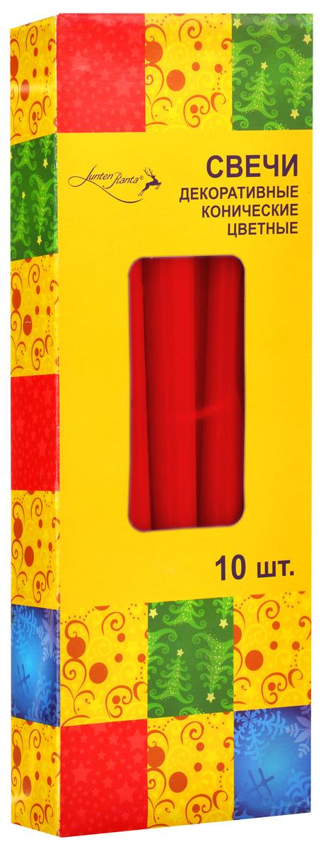 Набор декоративных свечей Lunten Ranta, цвет: красный, высота 25 см, 10 штFS-91909Набор Lunten Ranta состоит из 10 декоративных свечей конической формы, изготовленных из парафина. Такой набор украсит интерьер вашего дома или офиса и наполнит его атмосферу теплом и уютом.Диаметр основания свечи: 2 см.