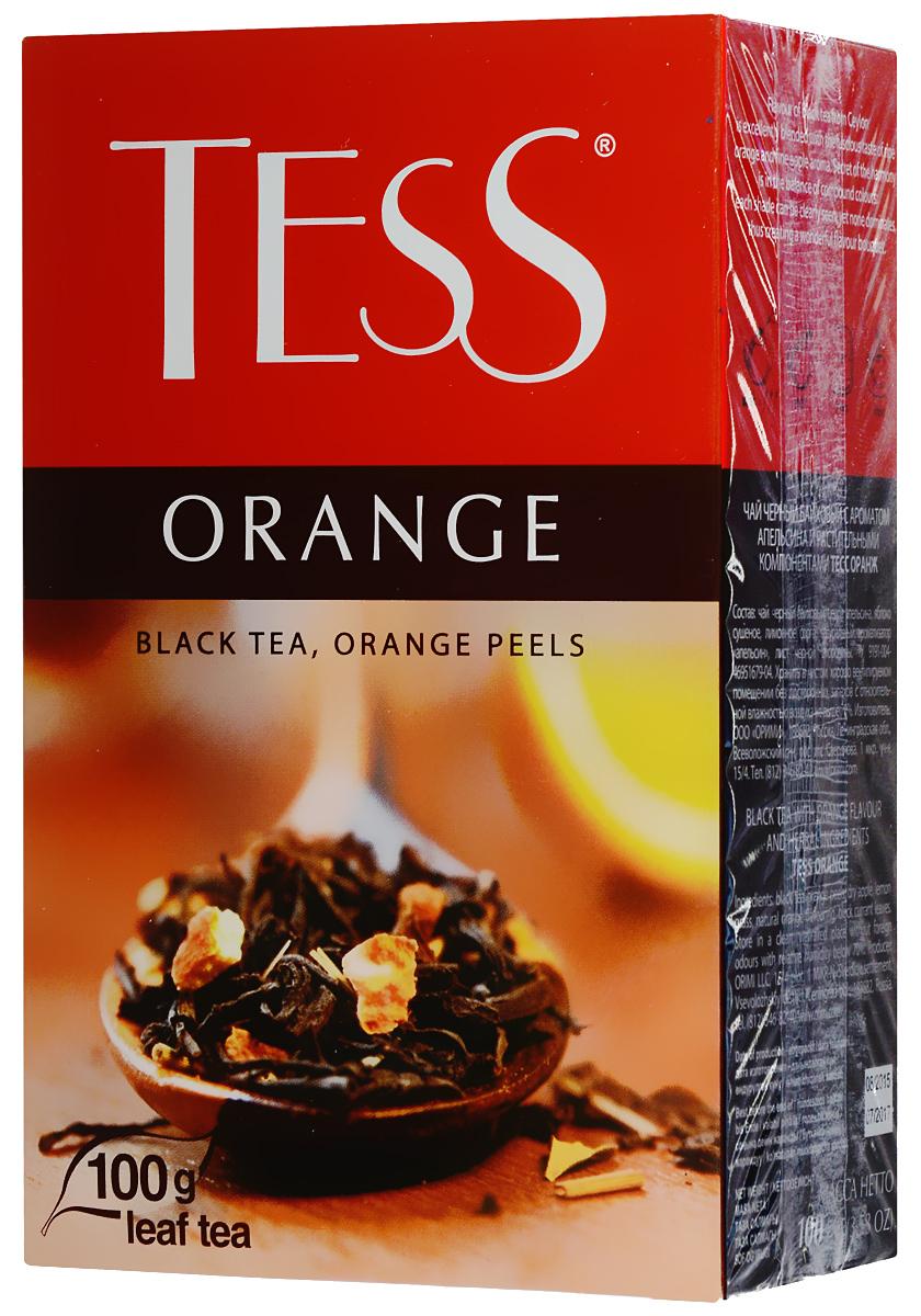 Tess Orange черный листовой чай, 100 г0120710Черный листовой чай Tess Orange - это освежающий черный чай с листом черной смородины, цедрой апельсина, сушеным яблоком. В яркой композиции Tess Orange насыщенный вкус черного чая гармонично сочетается с оттенками апельсина и яблока. Свежий аромат личи и тонкие ноты черной смородины вносят завершающий штрих в богатую вкусовую гамму.
