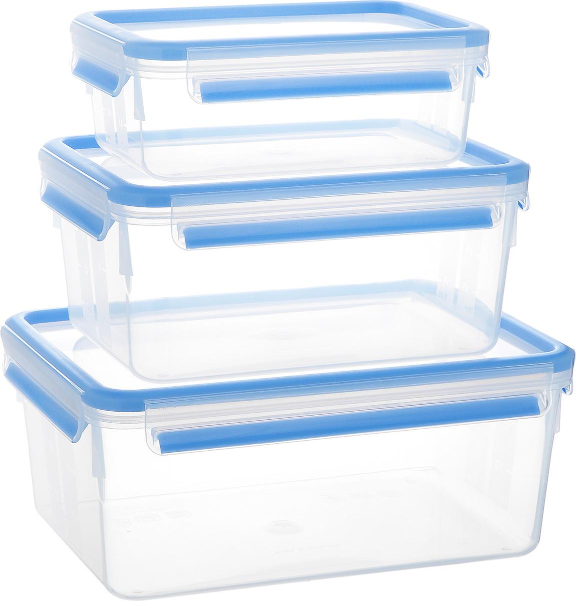 Набор контейнеров Emsa Clip&Close, 3 шт. 50856779 02471Набор Emsa Clip&Close состоит из трех контейнеров разного объема, изготовленных из высококачественного пищевого пластика, который выдерживает температуру от -40°С до +110°С, не впитывает запахи и не изменяет цвет. Это абсолютно гигиеничный продукт, который подходит для хранения даже детского питания. Изделия снабжены крышками, плотно закрывающимися на 4 защелки. Герметичность достигается за счет специальных силиконовых прослоек, которые позволяют использовать контейнер для хранения не только пищи, но и напитков. В таком контейнере продукты долгое время сохраняют свою свежесть. Прозрачные стенки позволяют просматривать содержимое. Сбоку имеются отметки литража. Изделия подходят для домашнего использования, для пикников, поездок, такие контейнеры удобно брать с собой на работу или учебу. Можно использовать в СВЧ-печах, холодильниках, посудомоечных машинах, морозильных камерах. Объем контейнеров: 1 л, 2,3 л, 3,7 л. Размер контейнеров: 19 см х 13 см х 7 см; 22 см х 16 см х 10 см; 26 см х 19 см х 11 см.
