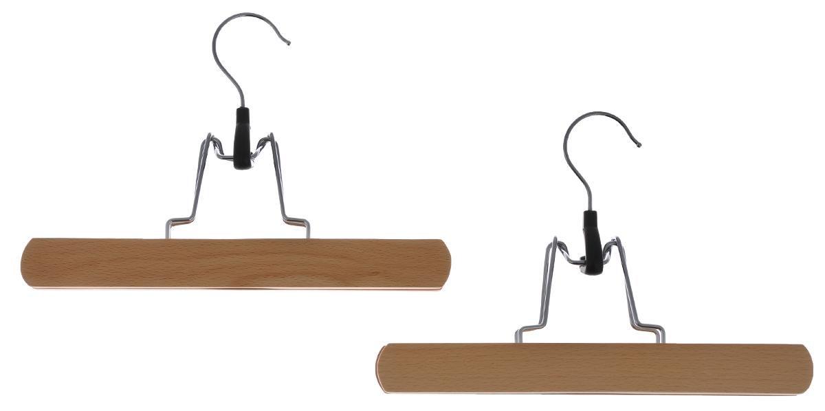 Вешалка-зажим для брюк Cosatto, цвет: бук, 2 штU210DFДеревянная вешалка для одежды Cosatto изготовлена из натуральной крашеной, специально обработанной древесины (массив бука), защищенной бесцветным лаком от проникновения влаги, деформации или разбухания. Вешалка предназначена специально для брюк. Все металлические части вешалки изготовлены из нержавеющей стали с напылением, препятствующим окислению и ржавчине.Вешалка - это незаменимая вещь для того, чтобы ваша одежда всегда оставалась в хорошем состоянии. Размеры вешалки: 25 см х 2 см х 17 см.