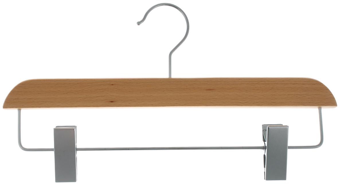 Вешалка для брюк и юбок Cosatto, с зажимами, цвет: бук, 33 см41619Вешалка Cosatto, выполненная из дерева и нержавеющей стали, идеально подойдет для брюк и юбок. Она имеет надежный крючок и металлическую перекладину с двумя зажимами. Вешалка - это незаменимая вещь для того, чтобы ваша одежда всегда оставалась в хорошем состоянии. Размер вешалки: 33 см х 1,5 см х 16 см.