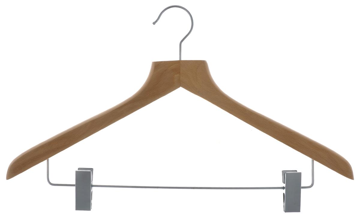 Вешалка для одежды Cosatto, с зажимами, цвет: бук, 45 см4730_Cars neonВешалка для одежды Cosatto, выполненная из дерева и нержавеющей стали, идеально подойдет для разного вида одежды. Она имеет надежный крючок и металлическую перекладину с двумя зажимами для брюк и юбок. Вешалка - это незаменимая вещь для того, чтобы ваша одежда всегда оставалась в хорошем состоянии. Размер вешалки: 44 см х 1,5 см х 26,5 см.
