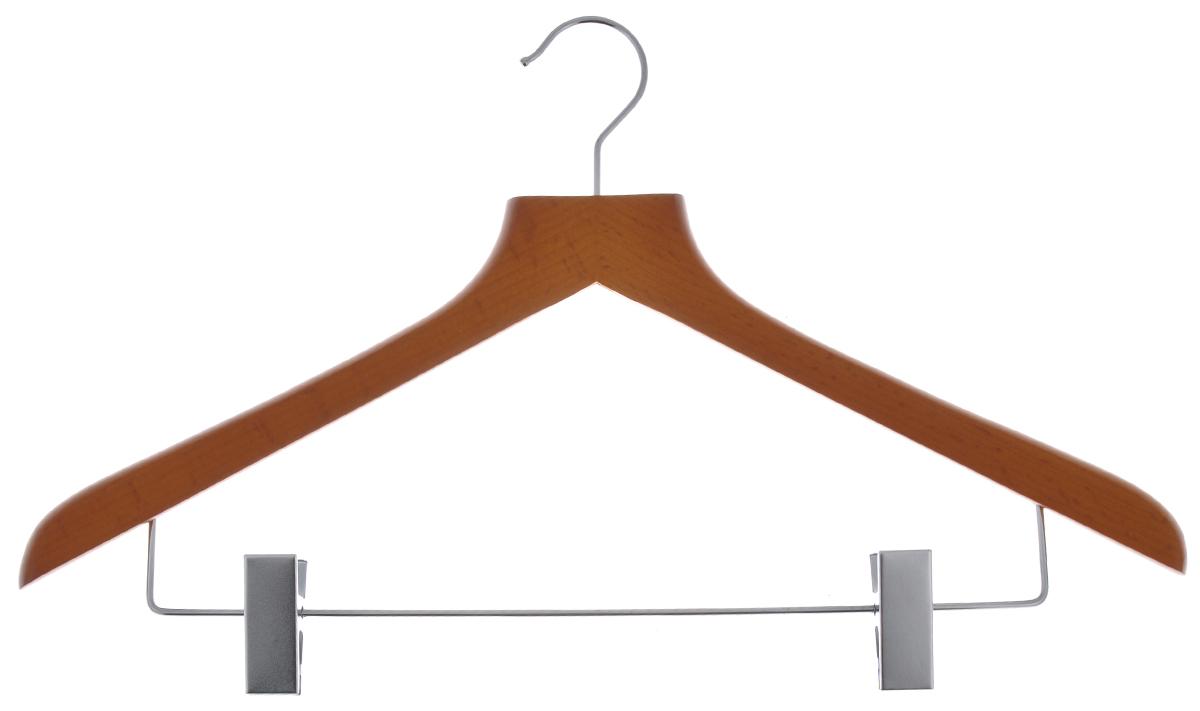 Вешалка для одежды Cosatto, с зажимами, цвет: орех, 44 смС12492Вешалка для одежды Cosatto, выполненная из дерева и нержавеющей стали, идеально подойдет для разного вида одежды. Она имеет надежный крючок и металлическую перекладину с двумя зажимами для брюк и юбок. Вешалка - это незаменимая вещь для того, чтобы ваша одежда всегда оставалась в хорошем состоянии. Размер вешалки: 44 см х 1,5 см х 26,5 см.