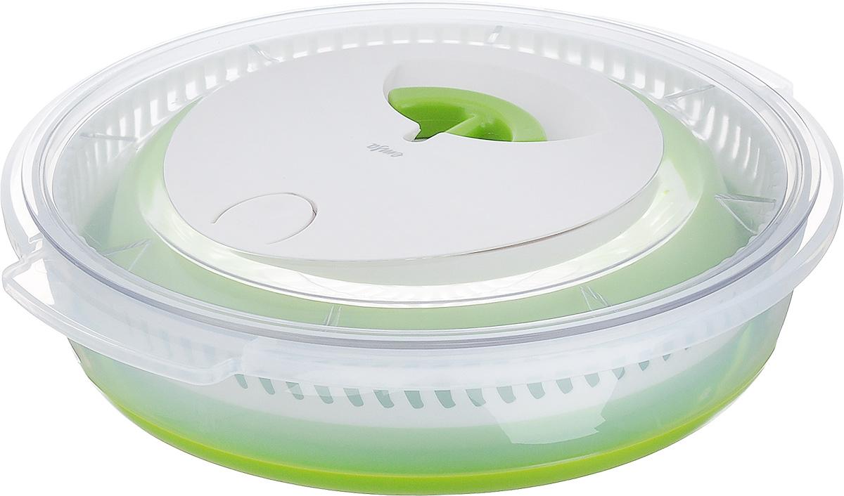 Сушилка для салата Emsa Basic, 4 л512992Сушилка для салата Emsa Basic - оригинальный инструмент для просушивания зелени, фруктов, ягод и овощей. Изделие представляет собой складной пластиковый контейнер, который регулируется по высоте благодаря гибким силиконовым вставкам. Внутрь вставляется центрифуга, сверху сушилка закрывается крышкой с приводом. Сушилкой очень легко пользоваться. Хоть она и механическая, не нужно прикладывать много усилий. Просто потяните за ручку с приводом, и центрифуга придет в движение. Кнопка Stop останавливает движение центрифуги. Нескользящее дно обеспечивает хорошую устойчивость. Изделие складное, поэтому его можно компактно хранить в шкафу, и оно не займет много места. Такая сушилка станет незаменимым помощником у вас на кухне. Объем: 4 л. Диаметр контейнера (по верхнему краю): 28,5 см. Высота стенки контейнера: 6 см, 13 см.