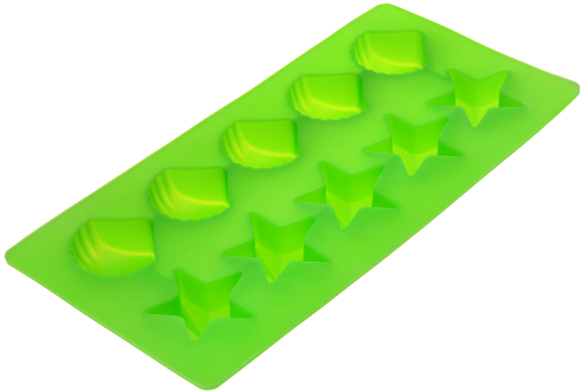 Форма для льда Marmiton Звездочки и ракушки, цвет: зеленый, 10 ячеек16002_зеленыйФорма Marmiton Звездочки и ракушки выполнена из силикона и предназначена для приготовления выпечки, мармелада и льда. На одном листе расположено 10 ячеек в виде звездочек и ракушек. Благодаря тому, что форма изготовлена из силикона, готовый десерт вынимать легко и просто.Материал устойчив к фруктовым кислотам, к воздействию низких и высоких температур. Не взаимодействует с продуктами питания и не впитывает запахи. Силикон абсолютно безвреден для здоровья. Чтобы достать лед, эту форму не нужно держать под теплой водой или использовать нож. Можно мыть в посудомоечной машине.Общий размер формы: 21 см х 10,5 см х 2,5 см. Количество ячеек: 10 шт.Размер ячеек (в виде ракушек): 3,5 см х 3,5 см х 2 см.Размер ячеек (в виде звездочек): 4 см х 3,5 см х 2 см.