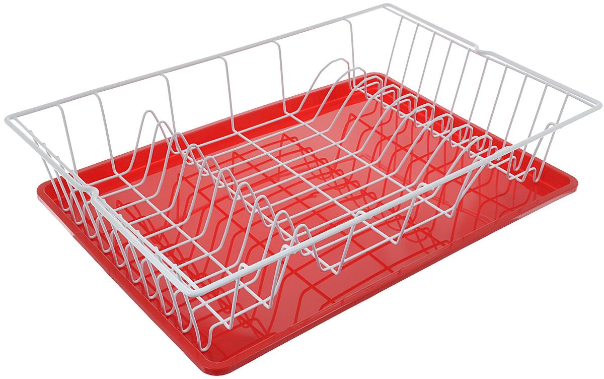 Сушилка для посуды Metaltex Germatex Plus, с поддоном, цвет: красный, белый, 48 х 30 х 9,5 смVT-1520(SR)Сушилка Metaltex Germatex Plus, изготовленная из стали, представляет собой решетку с ячейками для посуды. Изделие оснащено пластиковым поддоном для стекания воды. Сушилка Metaltex Germatex Plus не займет много места на вашей кухне. Вы сможете разместить на ней большое количество предметов. Компактные размеры и оригинальный дизайн выделяют эту сушилку из ряда подобных.Размер сушилки: 48 х 30 х 9,5 см.Размер поддона: 45 х 31 х 2 см.