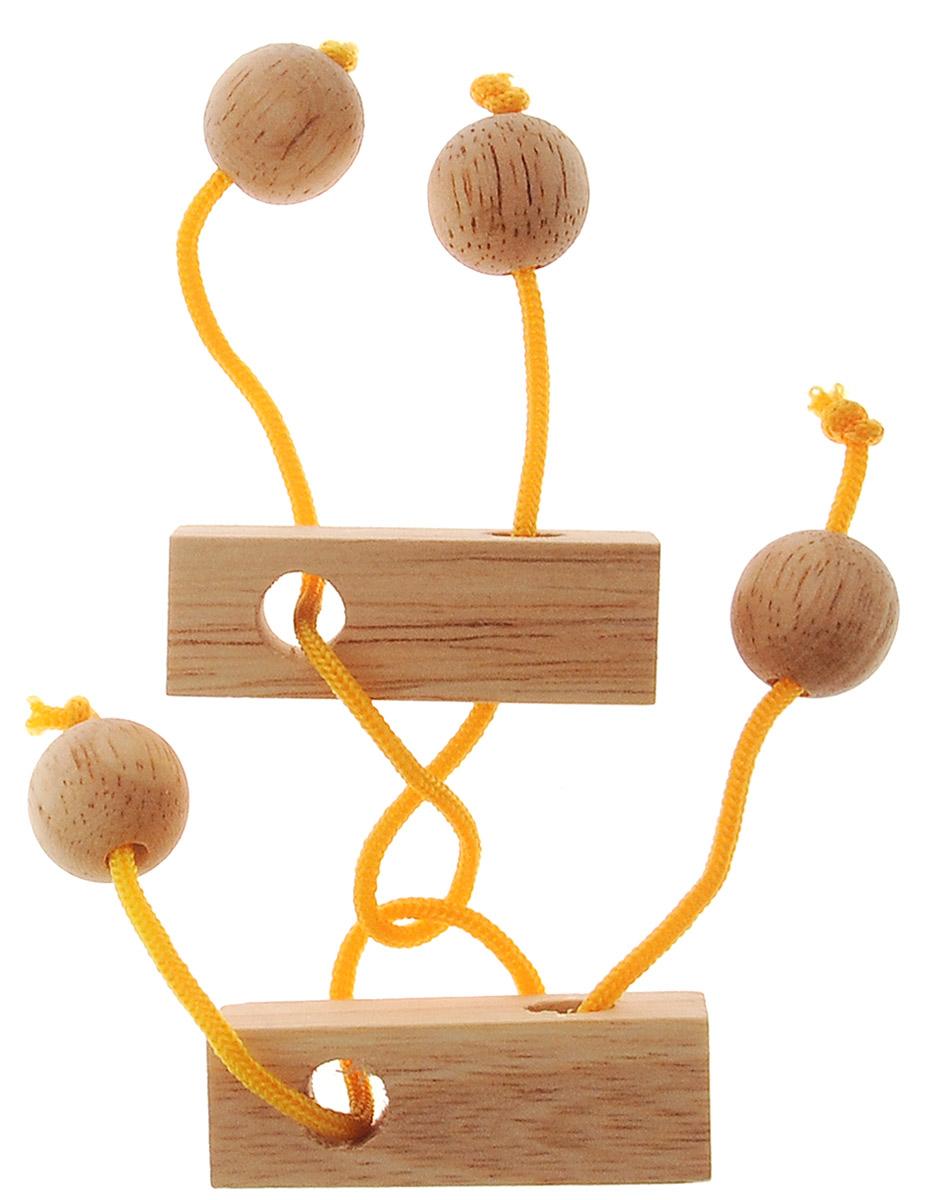 """Головоломка Dilemma """"Близнецы"""", выполненная из дерева и текстиля, станет отличным подарком всем любителям головоломок! Рассчитана головоломка на одного игрока. Изделие состоит из 2 деревянных элементов с веревками. Цель: распутать веревки. Если сложно, то вы можете воспользоваться подсказкой в инструкции. Головоломка Dilemma """"Близнецы"""" стимулирует логику, пространственное мышление и мелкую моторику рук."""