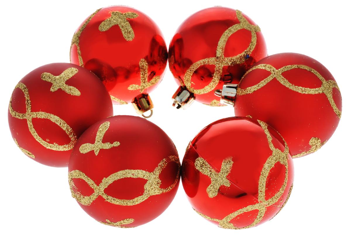 Набор новогодних подвесных украшений Феникс-презент Цепь, цвет: красный, золотистый, диаметр 6 см, 6 штNLED-454-9W-BKНабор подвесных украшений Феникс-презент Цепь прекрасно подойдет для праздничного декора новогодней ели. Набор состоит из 6 пластиковых украшений в виде глянцевых шаров, оформленных блестками. Для удобного размещения на елке для каждого украшения предусмотрена петелька, выполненная из текстиля.Елочная игрушка - символ Нового года. Она несет в себе волшебство и красоту праздника. Создайте в своем доме атмосферу веселья и радости, украшая новогоднюю елку нарядными игрушками, которые будут из года в год накапливать теплоту воспоминаний. Откройте для себя удивительный мир сказок и грез. Почувствуйте волшебные минуты ожидания праздника, создайте новогоднее настроение вашим дорогим и близким.