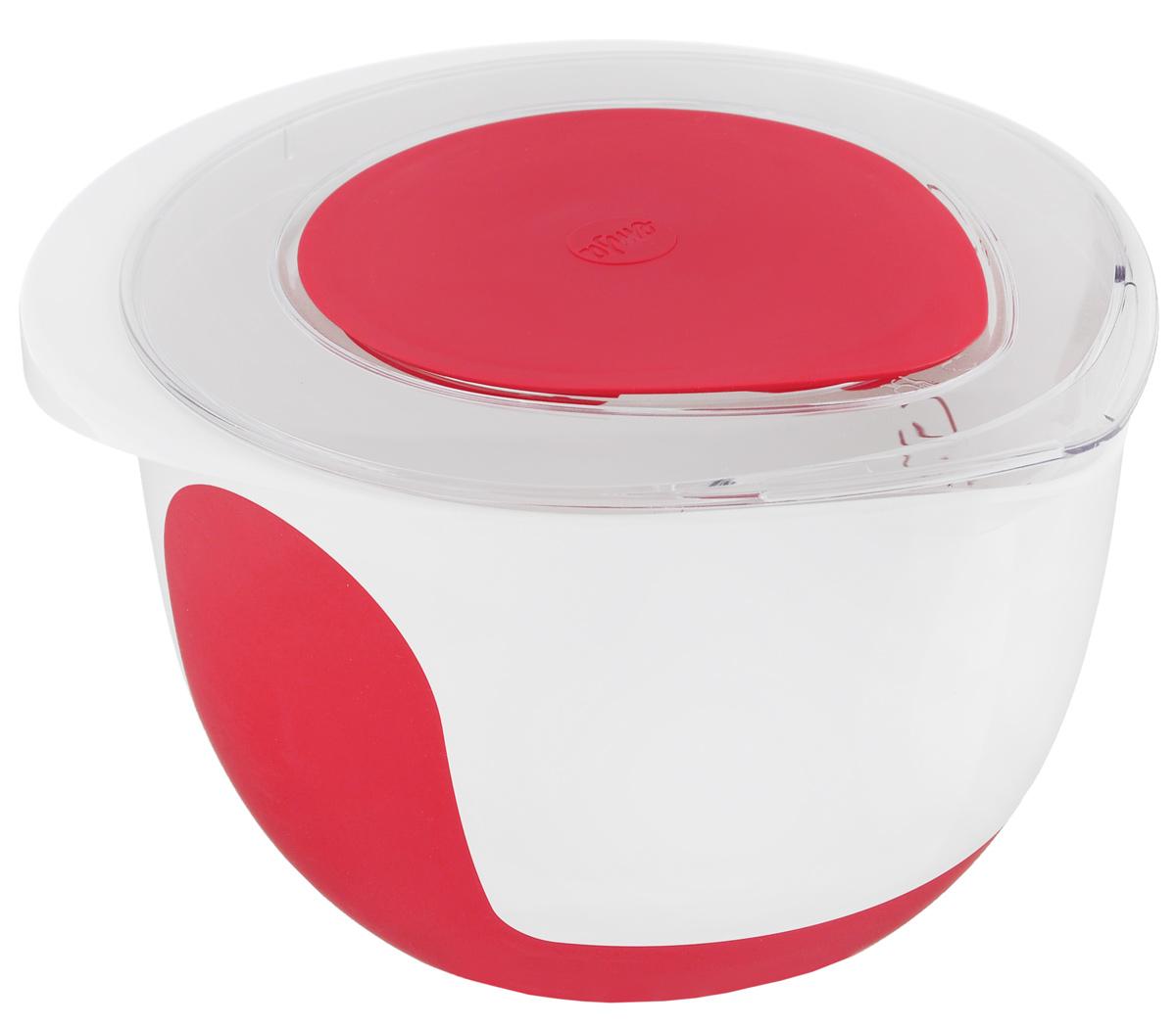 Миска для смешивания Emsa Mix&Bake, с крышкой, цвет: белый, красный, 2 л508018Миска Emsa Mix&Bake предназначена для взбивания теста при выпечке. Выполнена из высококачественного пищевого пластика. Противоскользящее основание и зоны захвата для надежного удержания - также в наклоненном положении. Внутри расположена мерная шкала. Изделие оснащено крышкой.