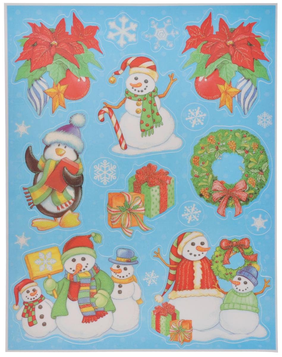 Новогоднее оконное украшение Lunten Ranta Дед Мороз и компания. 65919_338221Новогоднее оконное украшение Lunten Ranta Дед Мороз и компания поможет украсить дом к предстоящим праздникам. На одном листе расположены наклейки в виде забавных снеговиков, елочных шаров, венка и подарков, декорированных блестками. Наклейки изготовлены из ПВХ. С помощью этих украшений вы сможете оживить интерьер по своему вкусу, наклеить их на окно, на зеркало или на дверь.Новогодние украшения всегда несут в себе волшебство и красоту праздника. Создайте в своем доме атмосферу тепла, веселья и радости, украшая его всей семьей. Размер листа: 37,5 см х 29 см. Размер самой большой наклейки: 12,5 см х 14,5 см. Размер самой маленькой наклейки: 2,8 см х 2,8 см.