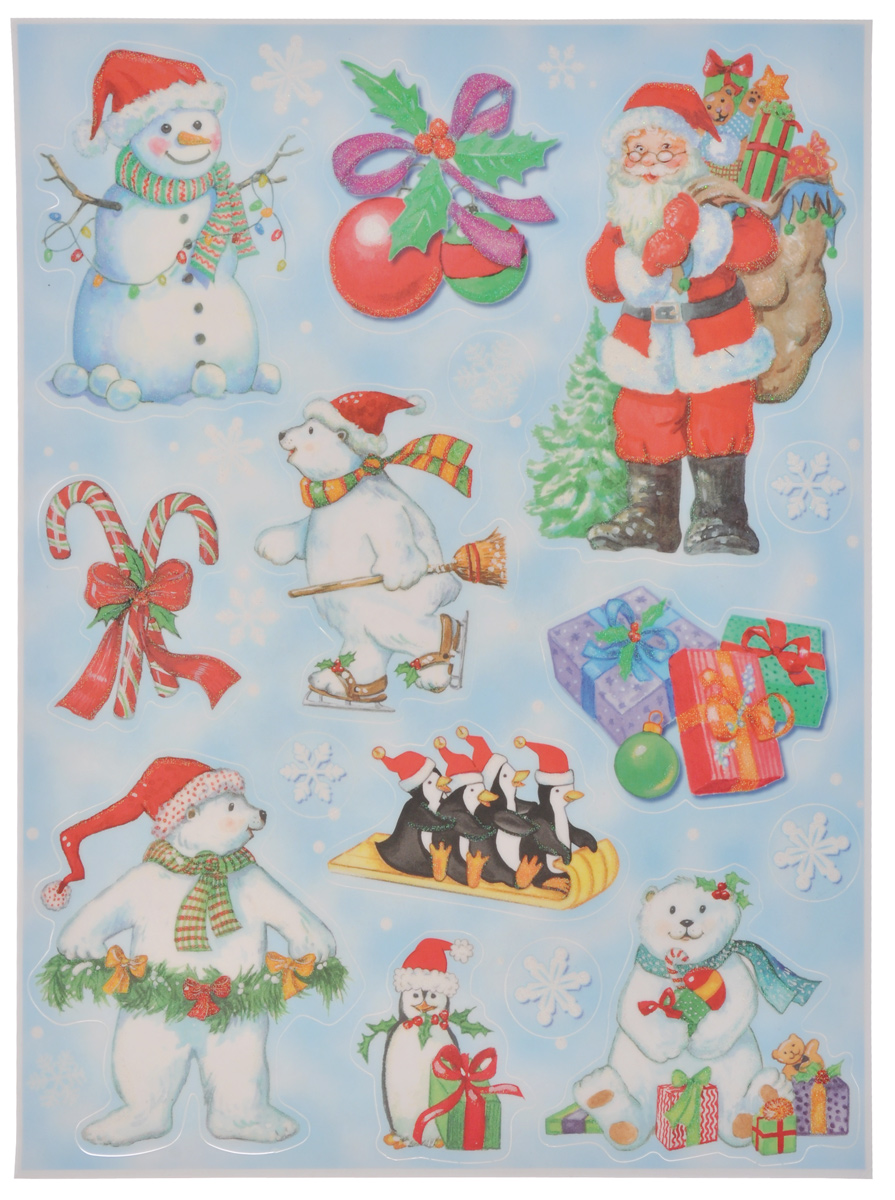 Новогоднее оконное украшение Lunten Ranta Дед Мороз и компания34902Новогоднее оконное украшение Lunten Ranta Дед Мороз и компания поможет украсить дом к предстоящим праздникам. На одном листе расположены наклейки в виде Деда Мороза, снеговика, елочных шаров, медведей, декорированных блестками. Наклейки изготовлены из ПВХ. С помощью этих украшений вы сможете оживить интерьер по своему вкусу, наклеить их на окно, на зеркало или на дверь.Новогодние украшения всегда несут в себе волшебство и красоту праздника. Создайте в своем доме атмосферу тепла, веселья и радости, украшая его всей семьей. Размер листа: 37,5 см х 29 см. Размер самой большой наклейки: 17 см х 11,5 см. Размер самой маленькой наклейки: 3 см х 3 см.