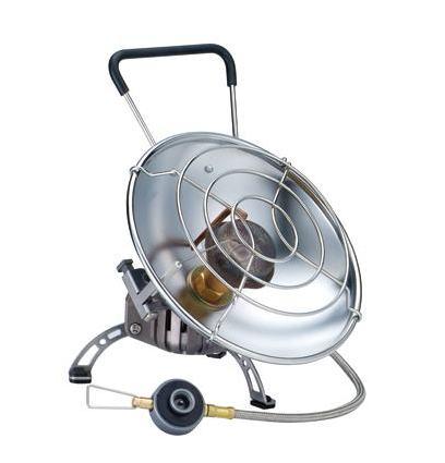 Обогреватель газовый Kovea Fire Ball KH-071011002Газовый обогреватель Kovea KH-0710 Fire Ball - уникальный портативный газовый обогреватель со шлангом с возможностью приготовления пищи. Туристический газовый обогреватель зажигается с помощью пьезоподжига. В приборе предусмотрено два положения отражателя: наклонное - для обогрева и горизонтальное - для приготовления пищи. Оба положения жестко фиксируются крепежным болтом, при этом исключается возможность изменения положения отражателя и опрокидывания кастрюли при готовке. Сетка отражателя достаточно частая, чтобы готовить еду или кипятить воду даже в кружке или турке. Для более стабильной работы газового обогревателя на холоде в конструкции газового обогревателя предусмотрена Anti-Flare System - система предварительного подогрева газа. Это очень удобная модель газового обогревателя для зимней рыбалки, когда одновременно с обогревом рыболовного укрытия в перерывах между клевом вы сможете вскипятить еще чашку чая или тут же поджарить и съесть только что пойманную рыбу под рюмку согревающего напитка, не думая о постоянно мерзнущих руках. Туристический газовый обогреватель KH-0710 работает от резьбовых газовых баллонов KGF-0230 и KGF-0450. Также возможно использование цангового баллона KGF-0220 при помощи переходника KA-9504 (поставляется в комплекте). Баллоны приобретаются отдельно. Комплектация: газовый обогреватель, пластиковый кофр, переходник, инструкция по эксплуатации. Мощность: 0,9 кВт. Вес:  г. Расход топлива: 66 г/ч. Топливо: газ. Размер (в походном положении): 190 мм х 180 мм х 190 мм.