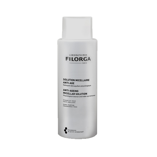 Filorga Мицеллярный раствор Anti-Age 400 млFS-00897Мицеллярный раствор Anti-Age - гармоничное дополнение к средствам марки против старения кожи. Бережно очищает кожу и удаляет макияж без раздражения. Трегалоза способствует сохранению влаги в клетках и обеспечивает коже максимальный комфорт. Полисахарид рамнозы оказывает успокаивающее и восстанавливающее действие, и борется со старением кожи.Удаление макияжа и очищение - это первый и самый важный этап ритуала красоты вашей кожи. Он подготавливает кожу к дальнейшему нанесению средств против старения и повышает эффективность их действия. Эффективность: 100% не раздражает глаза; 73% удаляет макияж, даже водостойкий;95% сохраняет физиологические свойства кожи;91% дарит ощущение комфорта; 77% увлажняет кожу;Тест, проведенный под офтальмологическим контролем на 22 пациентах от 24 до 70 лет: применение 2 раза в день в течение 7 дней, лицо и глаза.Бережно очищает кожу и удаляет макияж без раздражения. Придает ощущение мягкости и бархатистости.