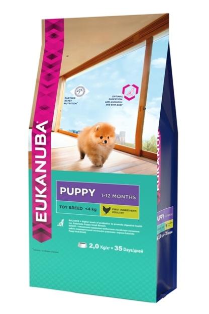 Корм Eukanuba Dog, для щенков миниатюрных пород, 2 кг103101002Корм сухой полнорационный Eukanuba для щенков миниатюрных пород от 1 до 12 месяцев (до 4 кг).Профессиональное сбалансированное питание, специально разработанное с учетом особенностей щенков миниатюрных пород в возрасте от 1 до 12 месяцев.1. БАЛАНС+Повышенное содержание пребиотиков способствует улучшению работы пищеварительной системы (по сравнению с EUKANUBA® Puppy Small Breed).2. РОСТ Кальций, эффективность которого клинически доказана, способствует укреплению костей.3. РАЗВИТИЕ Докозагексаеновая кислота (ДГК), эффективность которой клинически доказана, помогает щенкам становиться более смышлеными и способными к обучению и дрессировке.4. ЗАЩИТААнтиоксиданты способствуют поддержанию естественной защиты организма щенков. Условия хранения: в прохладном темном месте