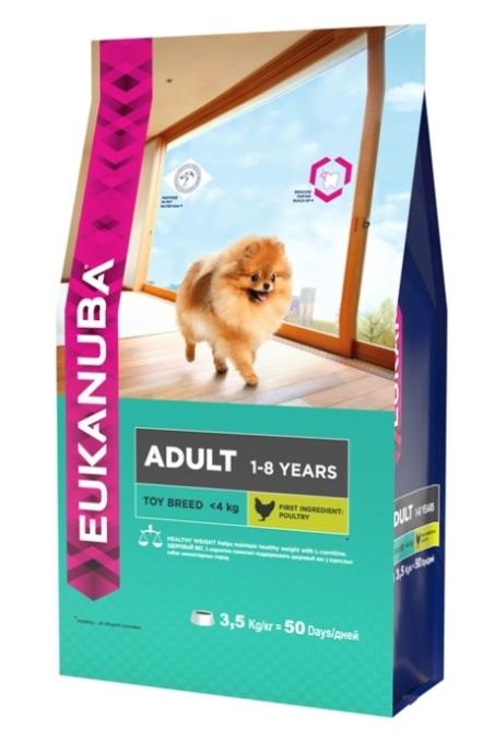 Корм Eukanuba Dog, для взрослых собак миниатюрных пород, 3,5 кг0120710Корм сухой полнорационный Eukanuba для взрослых собак миниатюрных пород от 1 до 8 лет (до 4 кг).Профессиональное сбалансированное питание, специально разработанное с учетом особенностей собак миниатюрных пород в возрасте от 1 до 8 лет.1. ЗДОРОВЫЙ ВЕС: L-карнитин помогает поддерживать здоровый вес у взрослых собак миниатюрных пород.2. БАЛАНС+: Повышенное содержание пребиотиков способствует улучшению работы пищеварительной системы (по сравнению с EUKANUBA® Adult Small Breed).3. ЗУБЫ:Клинически доказанная эффективность в борьбе с образованием зубного камня за 28 дней. Сокращает образование зубного налета и поддерживает здоровый блеск.4. БЛЕСК: Поддерживает здоровье кожи и красоту шерсти собак при помощи оптимального соотношения жирных кислот омега-3 и омега-6, эффективность которого доказана клинически. Условия хранения: в прохладном темном месте